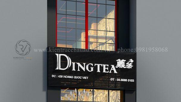 Thiết kế kiến trúc nội thất quán trà sữa DingTea Hoàng Quốc Việt
