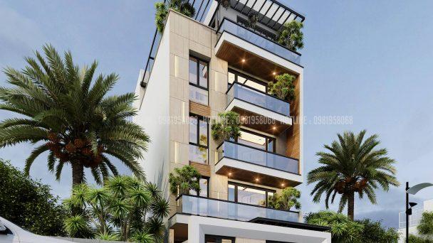 Thiết kế biệt thự liền kề 5 tầng hiện đại