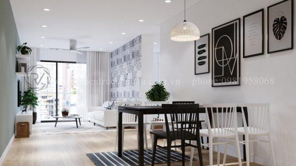 Thiết kế nội thất chung cư gam màu đen trắng tại Lò Đúc