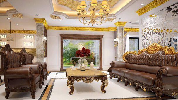Thiết kế nội thất biệt thự tân cổ điển nhà anh San