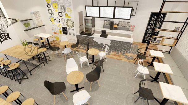 Thiết kế quán trà sữa La Tea trẻ trung ấn tượng tại Mỹ Đình