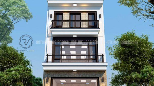 thiết kế nhà lô 3 tầng 1 tum tân cổ điển