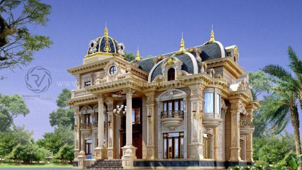 Thiết kế biệt thự cổ điển 3 tầng đẹp tráng lệ tại Sóc Sơn HN