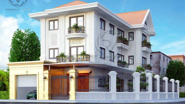 Thiết kế kiến trúc biệt thự đẹp phong cách tân cổ điển anh San