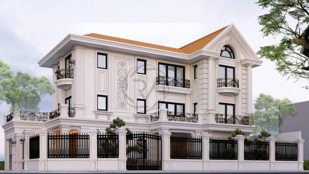 Thiết kế kiến trúc biệt thự 2 mặt tiền phong cách tân cổ điển