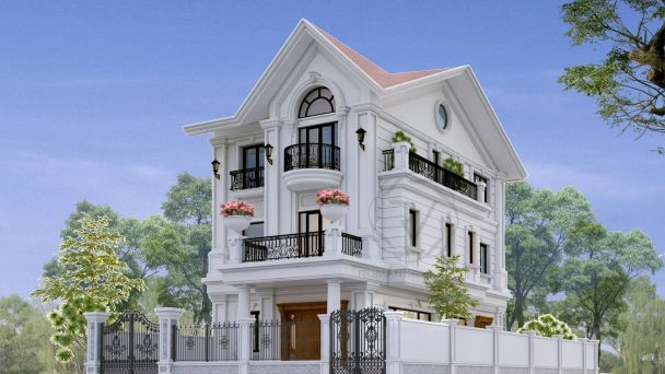 Thiết kế kiến trúc biệt thự đẹp 3 tầng phong cách tân cổ điển