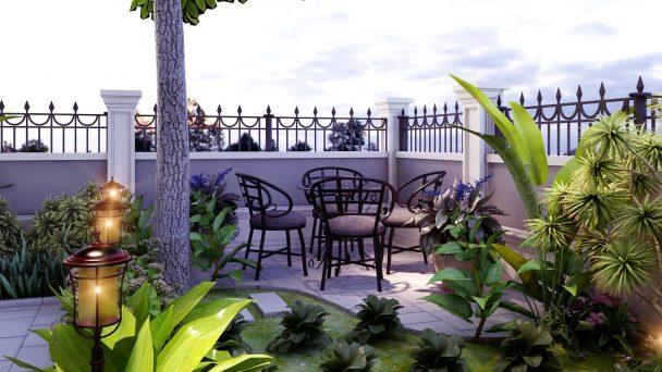Thiết kế cảnh quan sân vườn biệt thự tân cổ điển – Chị Hương