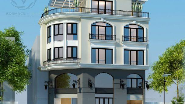 Thiết kế kiến trúc biệt thự Châu Âu 2 mặt tiền đẹp hiện đại