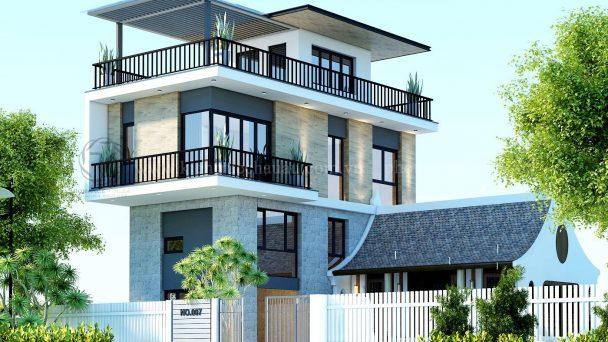 Thiết kế kiến trúc biệt thự 3 tầng đẹp hiện đại tại Đức Thượng