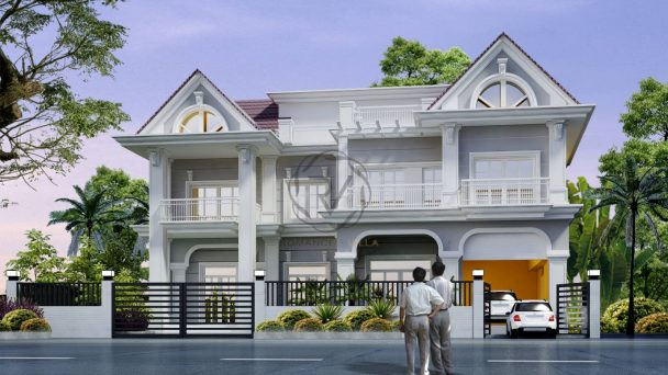 Thiết kế kiến trúc biệt thự phố phong cách tân cổ điển – anh Vĩ