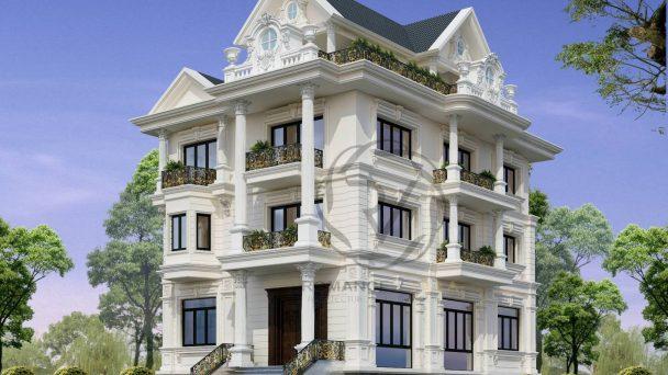Thiết kế kiến trúc biệt thự phố phong cách Châu Âu tân cổ điển