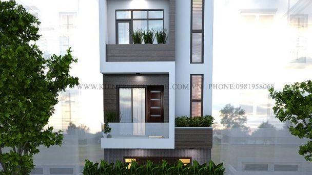 Thiết kế kiến trúc nhà phố 3 tầng 1 tum phong cách hiện đại