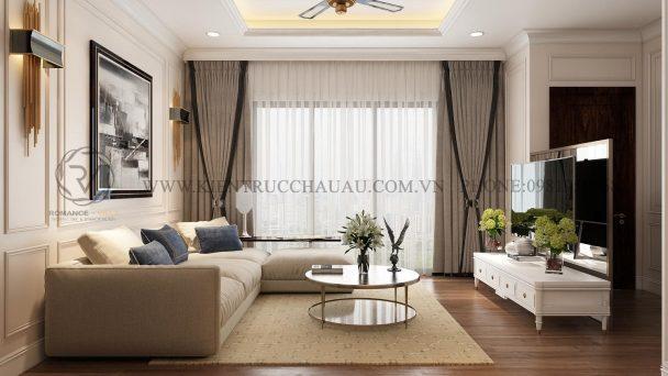 Thiết kế nội thất chung cư 90m2 phong cách tân cổ điển nhẹ