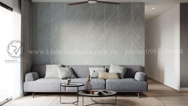 Thiết kế nội thất chung cư Hòa Bình với gam màu ghi xám
