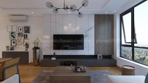 Thiết kế nội thất chung cư Hòa Bình cá tính với gỗ tự nhiên