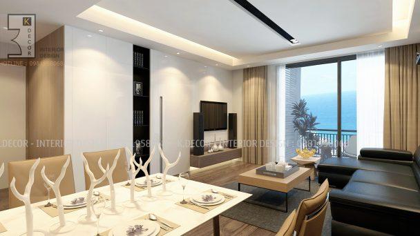 Thiết kế nội thất chung cư 1 phòng ngủ 45m2 tại Park Hill