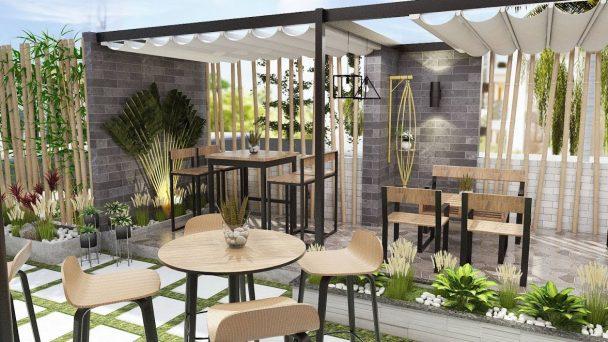 Thiết kế quán café nhỏ đẹp với không gian thoáng đãng