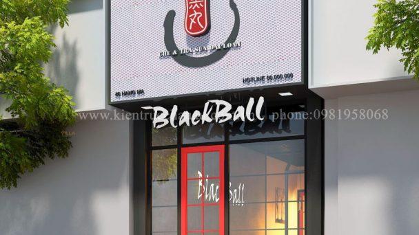 Thiết kế quán trà sữa mặt tiền hẹp – Black Ball phố Hàng Mã