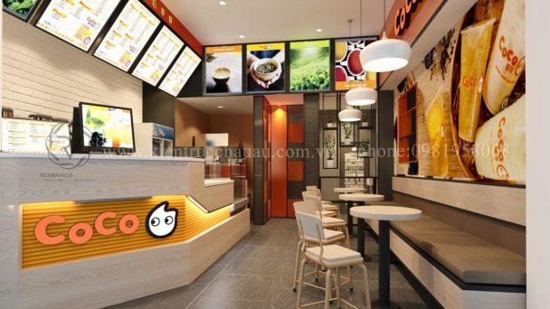 Thiết kế quán trà sữa CoCo đường Thanh Niên tươi trẻ hiện đại