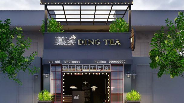 Thiết kế quán trà sữa Ding Tea ấn tượng độc đáo tại Phú Quốc