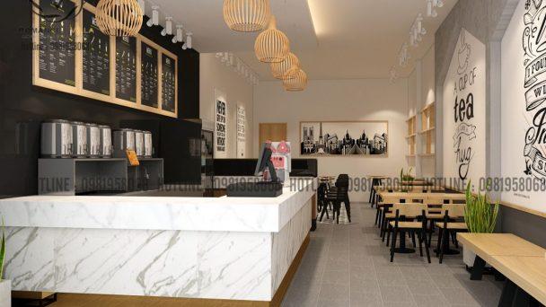 Thiết kế nội thất quán trà sữa cá tính với tone màu đen trắng