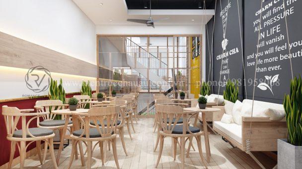 Thiết kế quán trà sữa CharmCha 3 tầng sáng tạo tại Ninh Bình