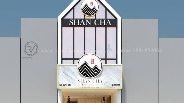 Thiết kế quán trà sữa Shancha theo tone màu đen trắng