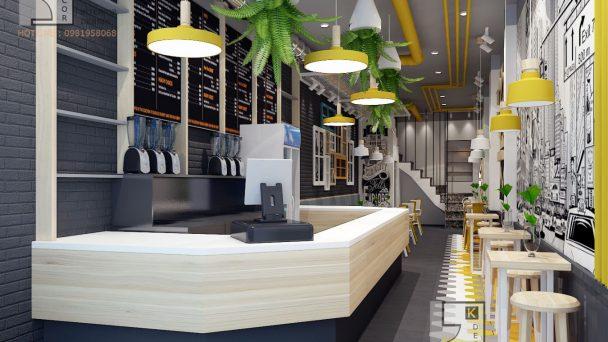 Cực hút mắt với mẫu thiết kế quán trà sữa phố Trần Thái Tông