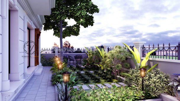 Thiết kế sân vườn biệt thự khu đô thị Quang Minh – Chị Hương